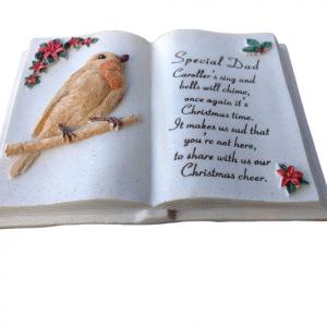 Special Dad Christmas Robin Memorial Book Plaque With Verse