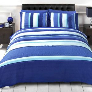 Striped Adults Teenagers Quilt Duvet Cover and Pillowcase Bedding Bed Set, Blue, Single