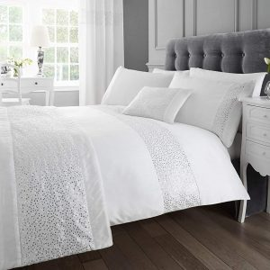 White Sequined Double Quilt Duvet Cover and 2 x Pillowcase Bed Set Modern Glamour, Polyester-Cotton