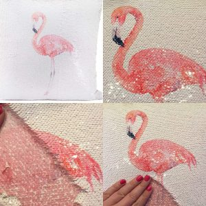 The Leonardo Collection 35cm Flamingo Sequin Cushion