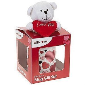 """White Teddy Bear Holding Red Heart with """"I Love You"""" Written on It, Plush in 11oz Mug W/Gift Box"""