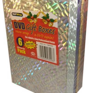 Pack of 6 Holographic DVD Gift Boxes Ass Colours
