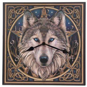 Puckator Clock - Celtic Wolf Head by Lisa Parker