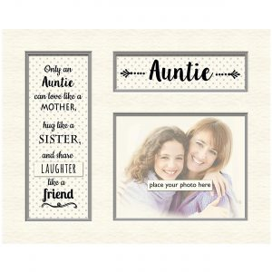 "Auntie Memory Mounts Grey Dotty for Photo Frame Celebration Gift Boxed 5"" x 4"""