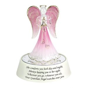 Light Up Guardian Angel in Pink Praying on a mirrored box
