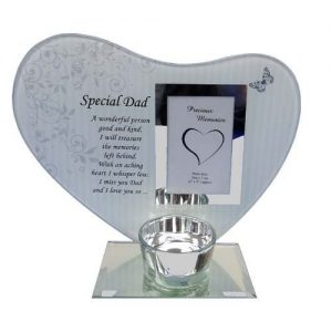 Special Dad Heart Plaque & t-light Holder Glass