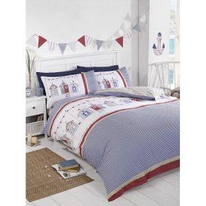 Duvet Sets King Size Summer Seaside Beach Huts Bed set