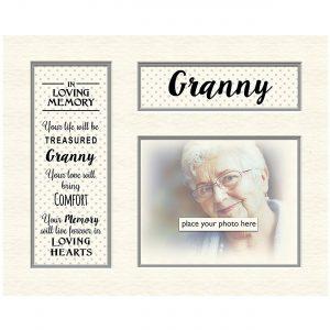 "Granny In Loving Memory Mounts Grey Dotty for Photo Frame Celebration Gift Boxed 5"" x 4"""