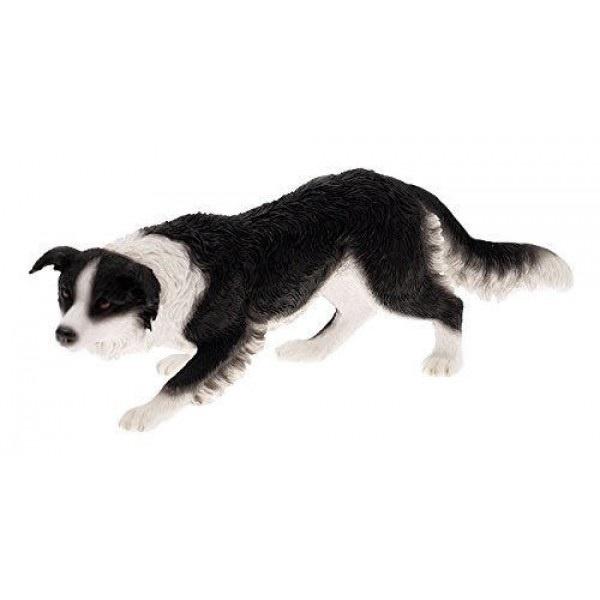 Leonardo Collection Border Collie Ornament Dog, High Grade Resin Stone, Black
