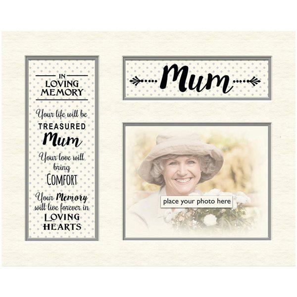 "Mum In Loving Memory Mounts Grey Dotty for Photo Frame Celebration Gift Boxed 5"" x 4"""