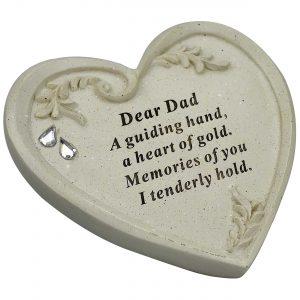 Dad Memorial Diamante Textured Heart Graveside Ornament