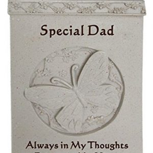 Special Dad Butterfly Rose Bowl Memorial Item, Stone, Cream