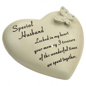 Husband Memorial Diamante Butterfly on Heart Ornament