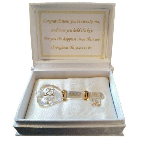 21st Gift Glass Key in a Box Present Boy Girl Gift Beautiful Present