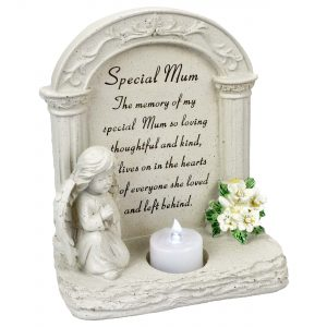 Special Mum Praying Angel With Flickering Tealight Graveside Memorial Plaque