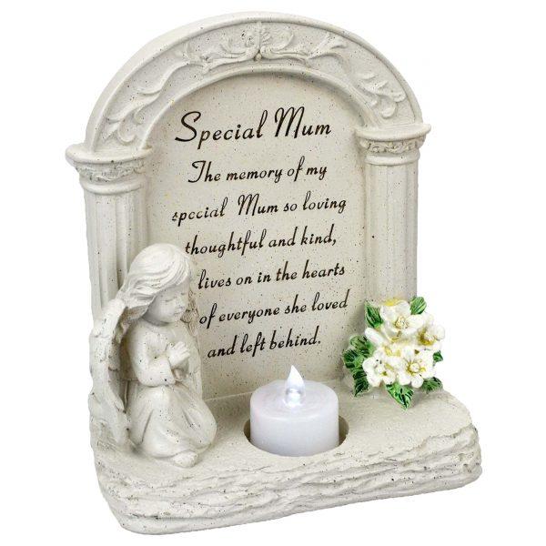 Special Mum Praying Angel With Flickering Tealight Graveside Memorial Plaque