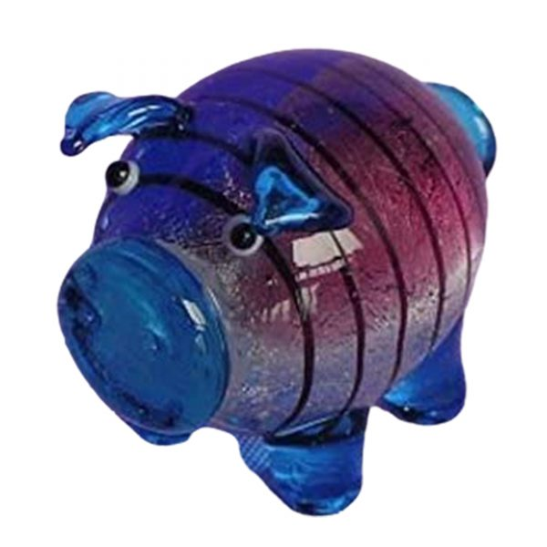 Beautiful Cute Little Glass Pigs Blue and Pink Small Ornament Boxed - Great Little Gift