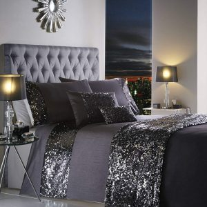Dazzle Glamorous Sequin Duvet Cover Bed Set, 100% Polyester, Charcoal, Double