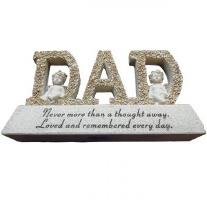 Dad Memorial Letter Plaque with Cherub Decorations