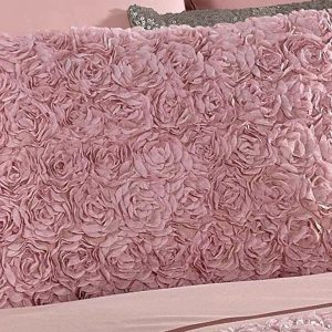 Pink Cushion Oblong Boudoir Scatter Cushion with Ruffled Raised Rose Design