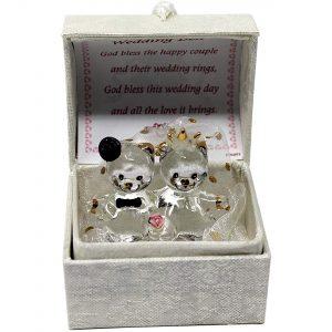 Crystal Glass Teddy Bears Congratulation Wedding Box Gift