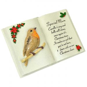 Mum Christmas Graveside Memorial Ornament Book with Robin Weather Resistant