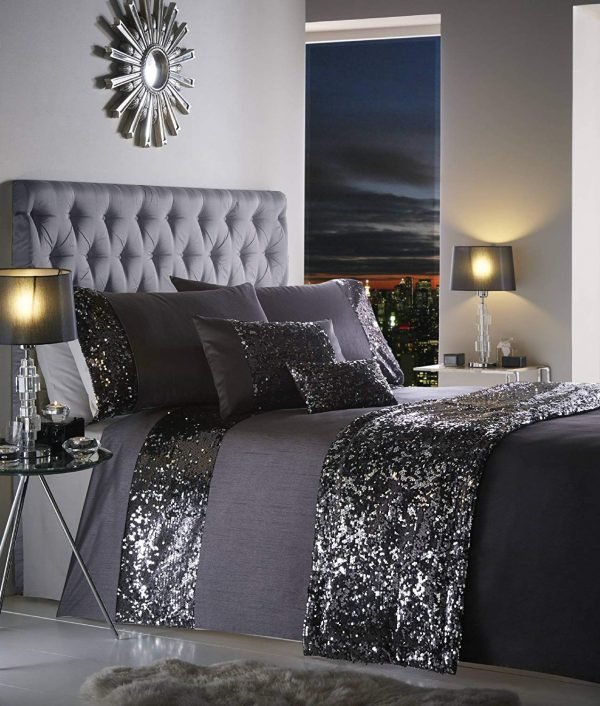 Dazzle Glamorous Sequin Duvet Cover Bed Set, 100% Polyester, Charcoal, King