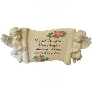 Daughter Memorial Scroll Stone Cream Ornament