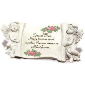 Mum Memorial Cherub Scroll Stone Cream Ornament