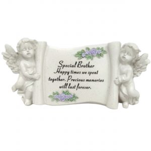 Brother Memorial Scroll Stone Cream Ornament