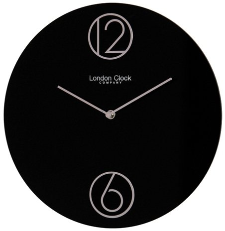 Contemporary Floating Numbers Wall Clock in Glossy Black