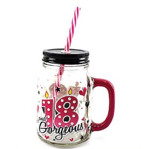Cocktail Drinking Mason Jar with Lid and Straw 500ml  - 18th Birthday