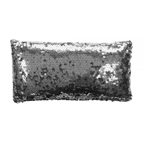 Charcoal Grey Silver Dazzle Sequin Filled Petite Cushion Stunning Modern Design