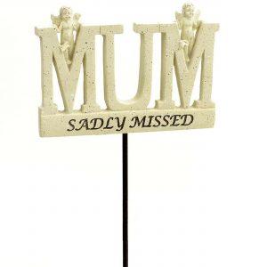 Mum Memorial Sadly Missed Angel Tribute Stick Graveside Plaque