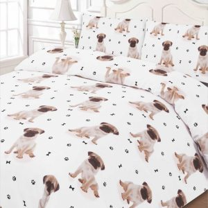 Luxuriously Pugwh02 Soft Animal Pug Duvet Cover Bedding Set with Pillowcases, Double
