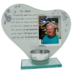 His Smile Memorial Poem & Photo Candle Holder Gift Boxed
