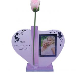 Mum Heart Shape Glass Photo Frame Plaque Rose Gift Ornament