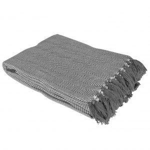 Country Club Como Cotton Throw/Blanket with Herringbone Design, Grey