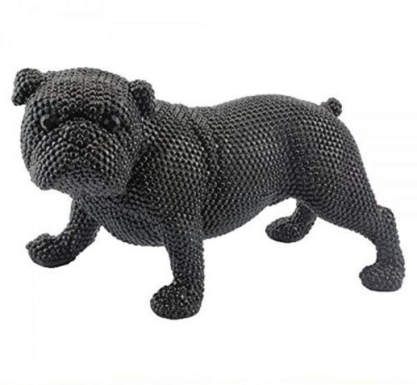 40Cm Black Diamante Bulldog Home Decoration Sculpture Figurine