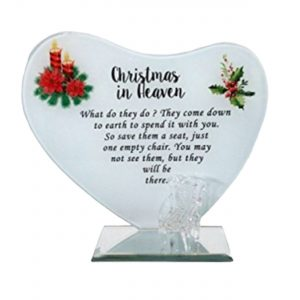Christmas in Heaven' Mirror Glass Plaque 17 x 15cm - Memorial Sign for that Someone Special Missing from your Life