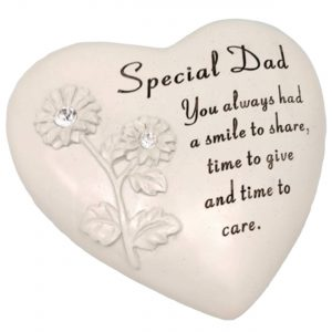 Dad Memorial Heart Shape Resin Stone With Diamante Flowers