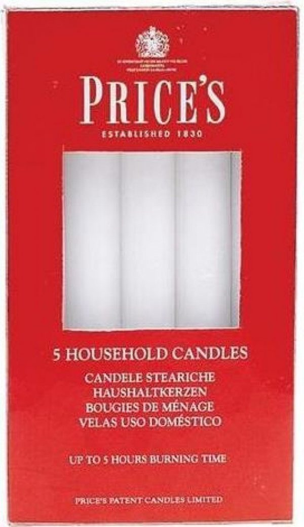 Price's Candles 5 Household Candles, White, 2 l x 2 w x 15 h centimeters