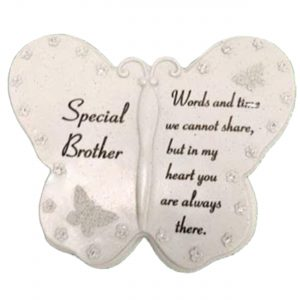 Special Brother Butterfly Book Graveside Ornament With Diamante Decoration