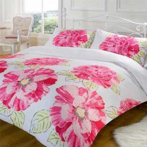 Nikita Pink & White Bold Flower Floral Double Duvet Quilt Cover Bedding Set