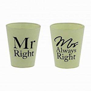 Mr Right & Mrs Always Right Shot Glasses For Couple, Engagement Gift