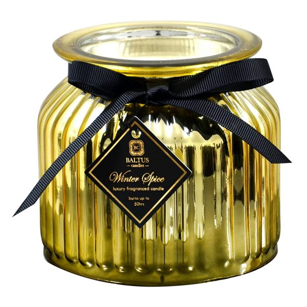 Baltus Scented Christmas Candle 50 Hours Burn Time Metallic Gold Glass Jar Winter Spice Fragrance