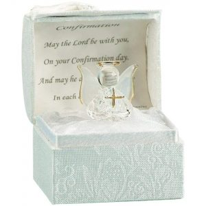 Religious Gifts Crystal Angle With Cross Catholic Christian