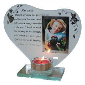 Candle And Photo Holder Memoria Plaque Glass