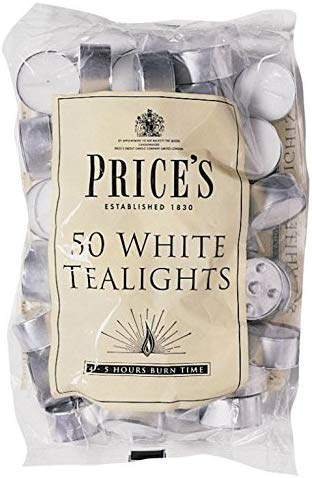 4 X Prices Patent Candles Pack of 50 White Tealights Bag