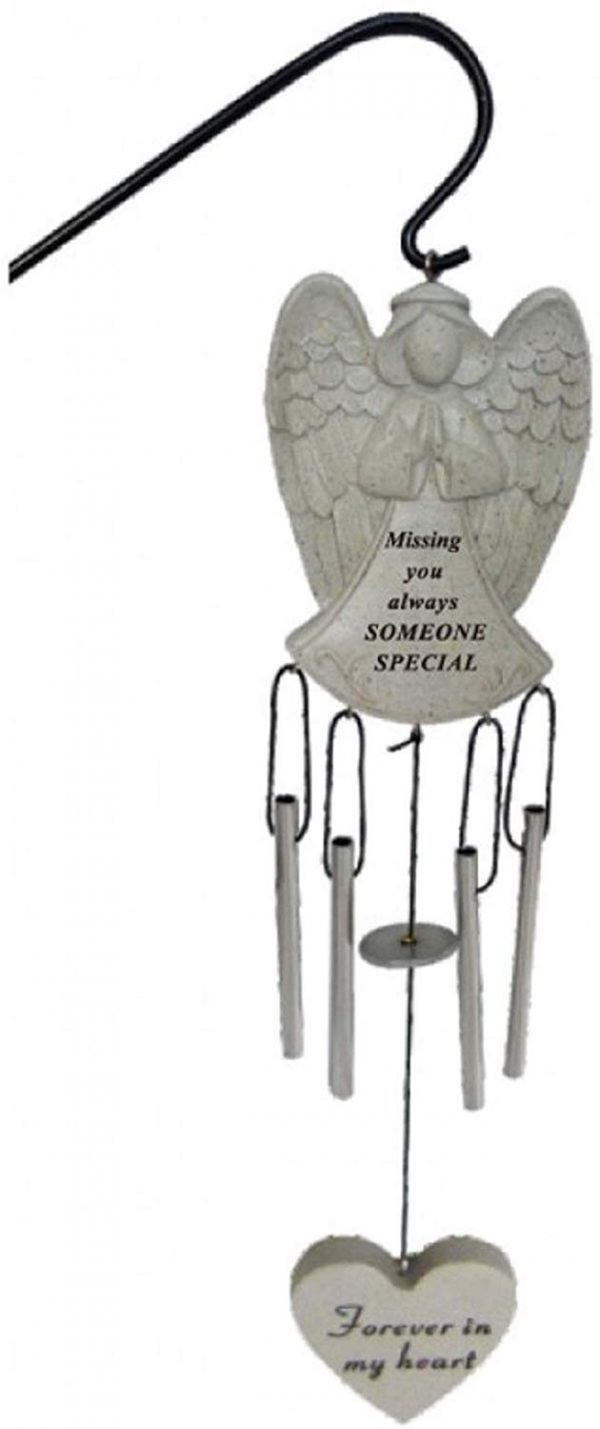 Someone Special Angel Memorial Wind Chime with Hanging Crook Graveside Tribute Plaque